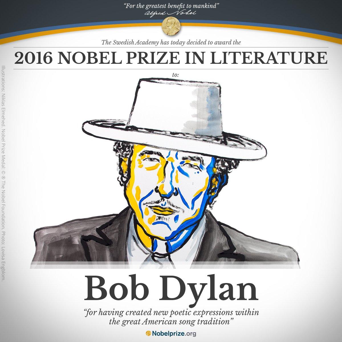 Bob Dylan, ganador del Nobel de Literatura
