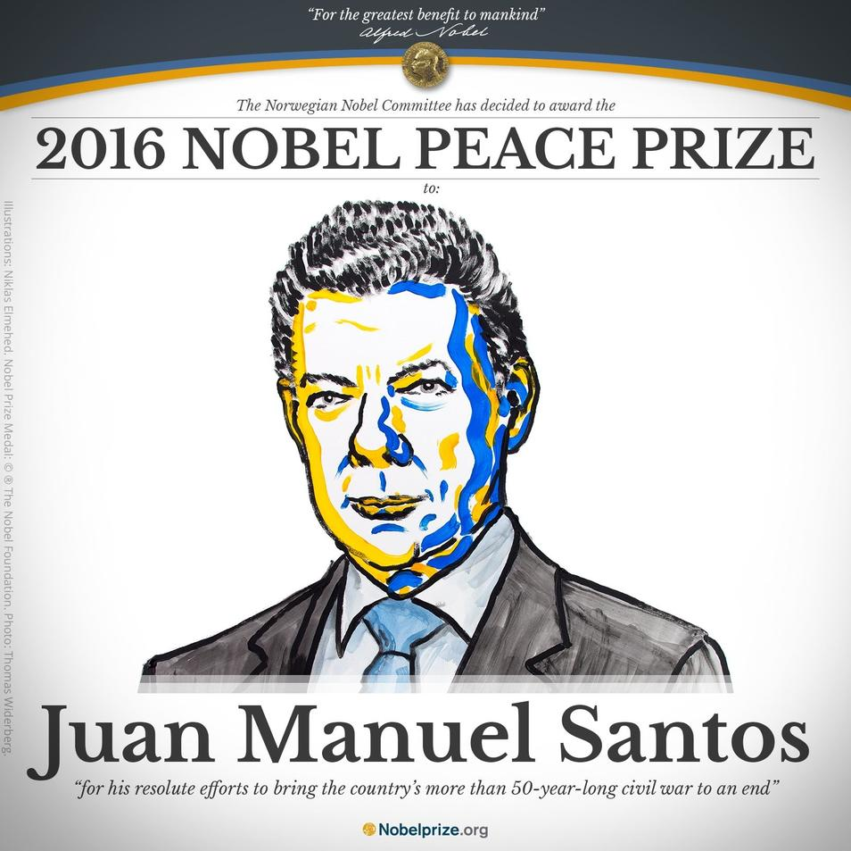 Juan Manuel Santos gana el premio Nobel de la Paz