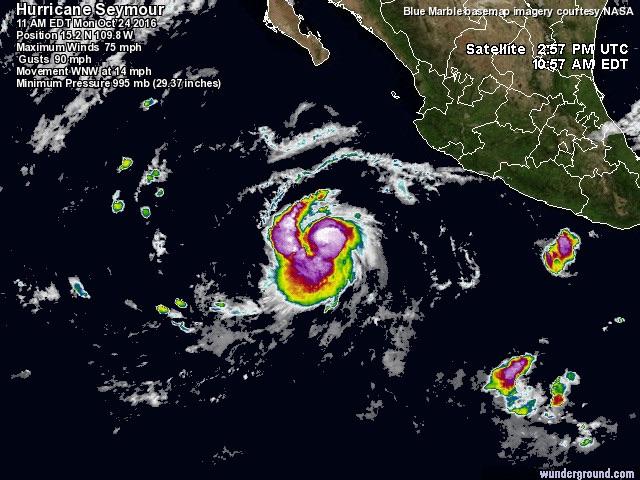 "'Seymour' es ya huracán categoría 4; ""No afectará al país"" dice SMN"