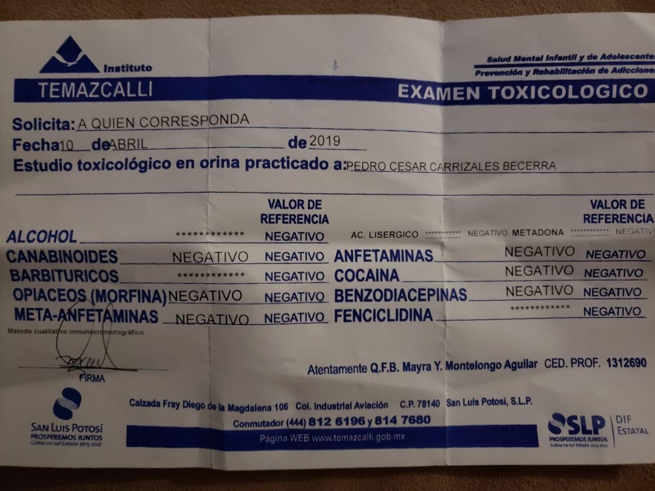 Pedro Carrizales publica resultados de examen toxicológico y revive el #MijisChallenge
