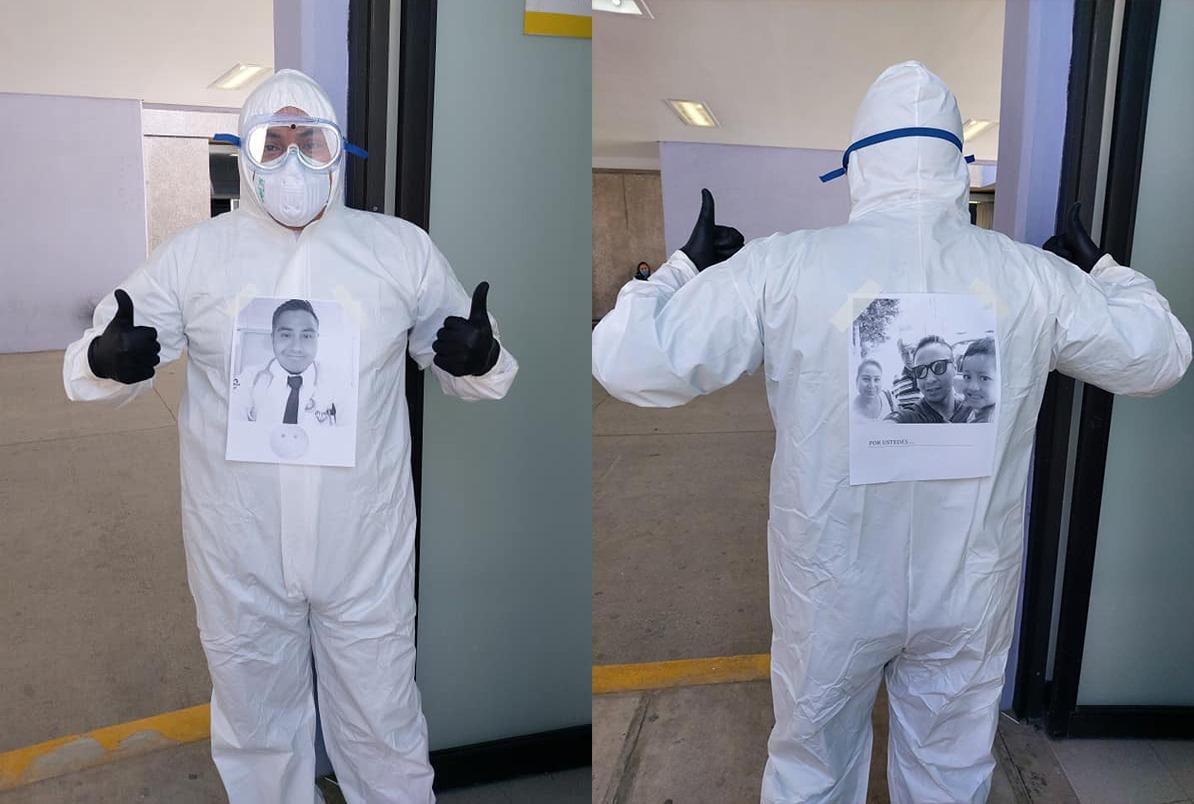 Arturo, el médico que le da vida a su traje contra el coronavirus