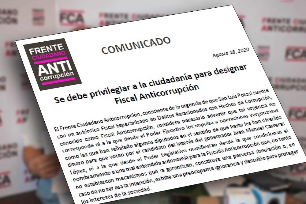 Pide Frente Anticorrupción que Ejecutivo y Legislativo no nombren a Fiscal