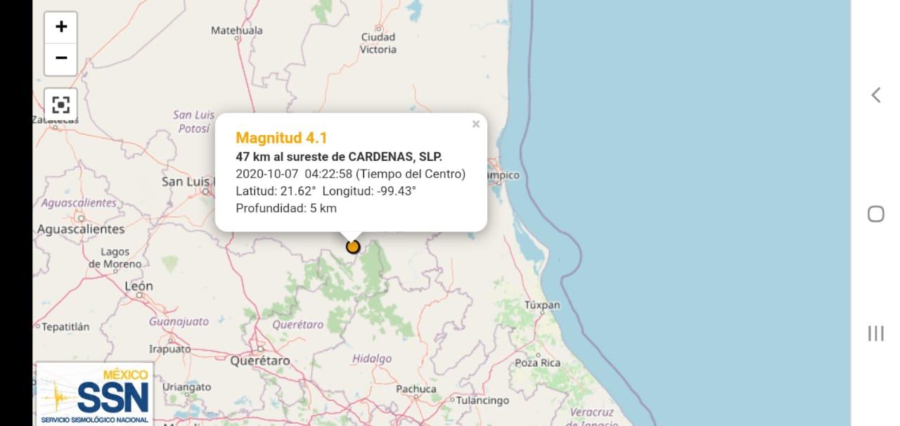 Se registra sismo a cinco kilómetros de Santa Catarina