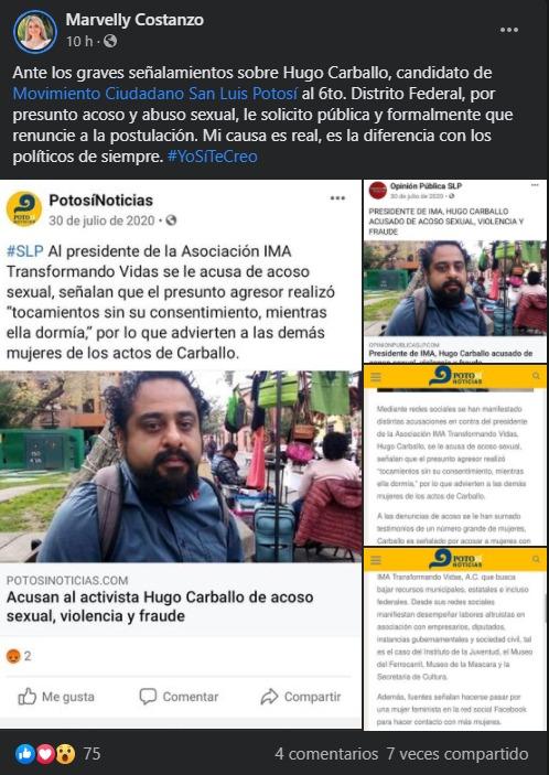Marvely Costanzo exige renuncia de candidato señalado por acoso y abuso sexual