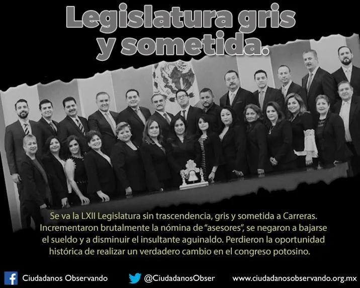 LXII Legislatura termina su período  sometida al Ejecutivo: Ciudadanos Observando